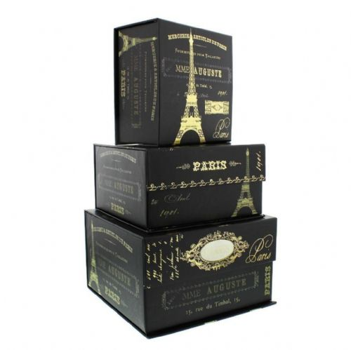 TRI-COASTAL PRETTY STORAGE BOX = FRENCH INSPIRATION SET OF 3 DECORATIVE STORAGE